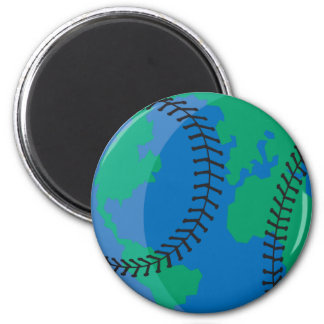 globe earth worldwide baseball magnet