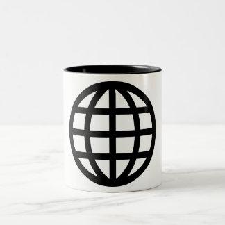 Globe Icon Pictograph Two-Tone Coffee Mug