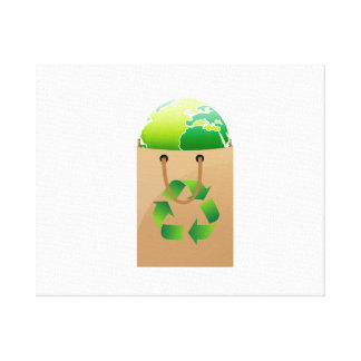 globe in brown shopping bag recycle symbol.png canvas prints