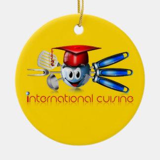 Globe international cuisine round ceramic decoration
