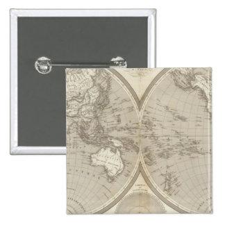 Globe map 15 cm square badge