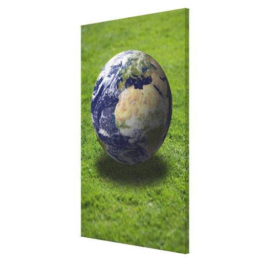 Globe on lawn 2 gallery wrap canvas