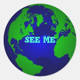 globe, See Me Round Sticker