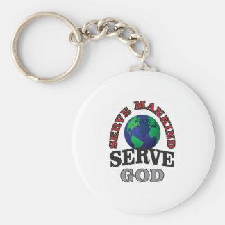 globe serve god and mankind basic round button key ring