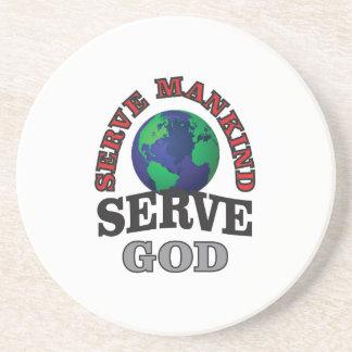 globe serve god and mankind drink coaster