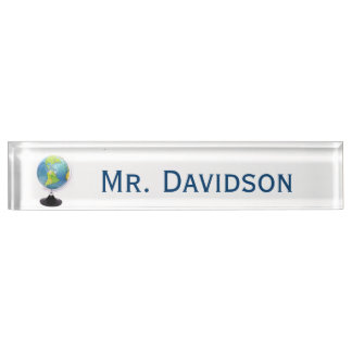 Globe Teacher's Custom Desk Nameplate