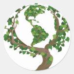 globe tree round stickers