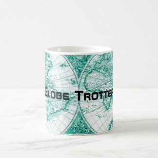 Globe Trotter World Map Vintage Green Coffee Mug