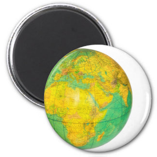 Globe with planet earth isolated on white 6 cm round magnet