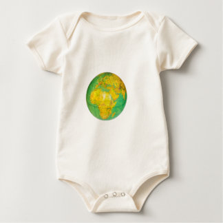 Globe with planet earth isolated on white baby bodysuit