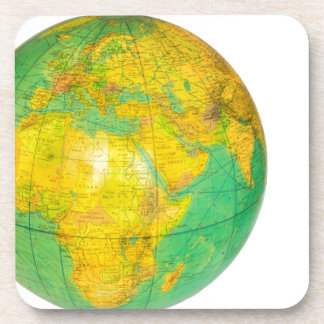 Globe with planet earth isolated on white coaster