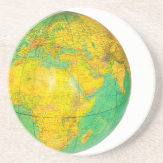 Globe with planet earth isolated on white drink coasters