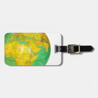 Globe with planet earth isolated on white luggage tag