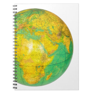 Globe with planet earth isolated on white notebook