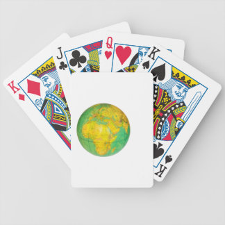 Globe with planet earth isolated on white poker deck