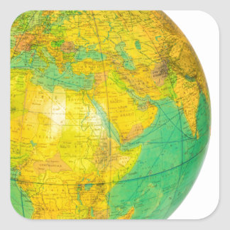Globe with planet earth isolated on white square sticker