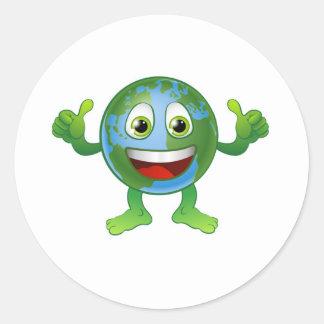 Globe world cartoon character sticker