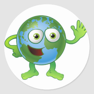 Globe world cartoon character round sticker