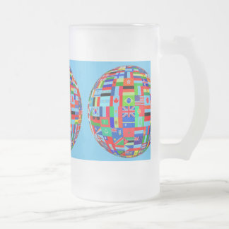 globes flags of the world frosted glass beer mug