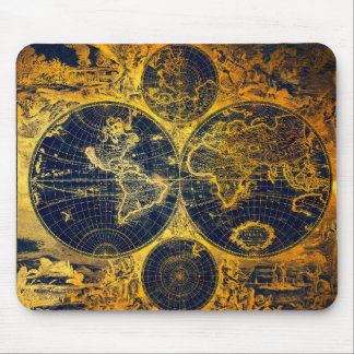 Gloden world map mouse pad