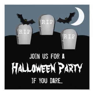 "Gloomy Graveyard Halloween Party Invite 5.25"" Square Invitation Card"