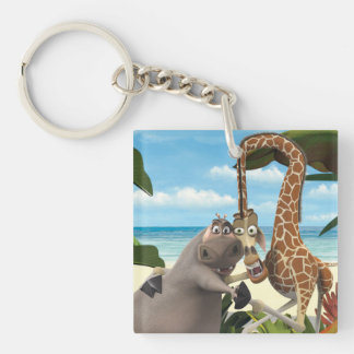 Gloria and Melman Hand Holding Double-Sided Square Acrylic Key Ring