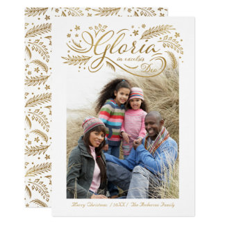 Gloria In excelsis Deo Photo Christmas Card Gold