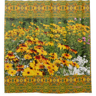 Gloriosa Daisies Along a Garden Path Shower Curtain