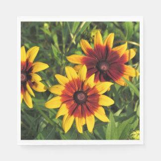 Gloriosa Daisies Mahogany Center Paper Napkin