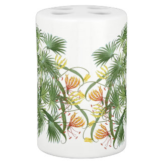 Gloriosa Lily Flowers Palm Tree Fronds Bath Set