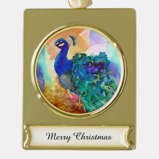 Glorious Peacock Alcohol Ink Gold Plated Banner Ornament