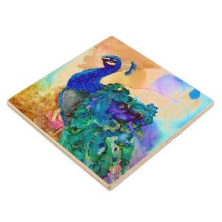 Glorious Peacock Alcohol Ink Wood Coaster