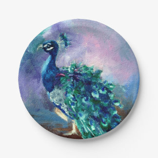 Glorious Peacock II Paper Plate
