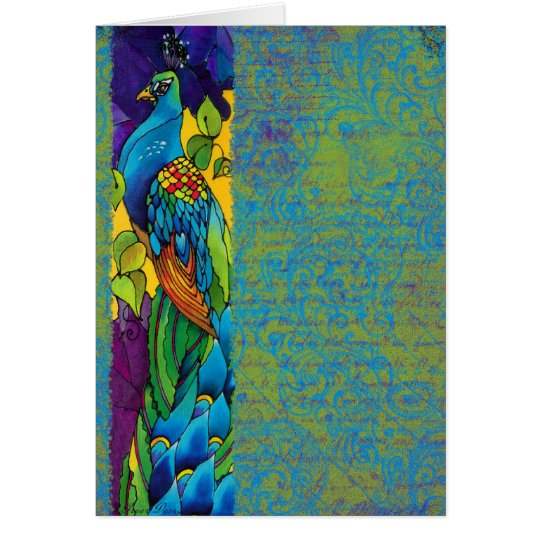 Glorious Peacock Silk Painting Card