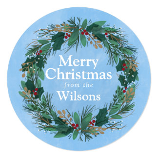 Glorious Wreath | Round Christmas Greeting Card