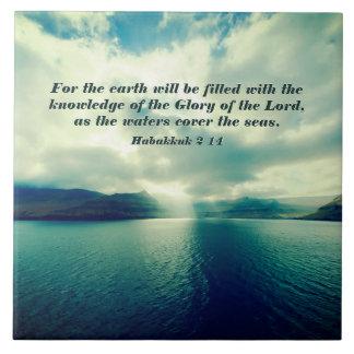 Glory of the Lord, Bible Verse, Habakkuk 2:14 Tile