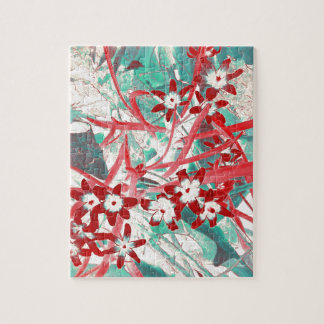 Glory of the Snow - Red and Turquoise Jigsaw Puzzle