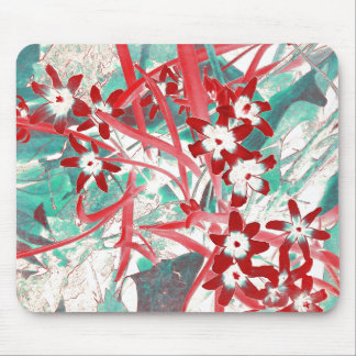 Glory of the Snow - Red and Turquoise Mouse Pad