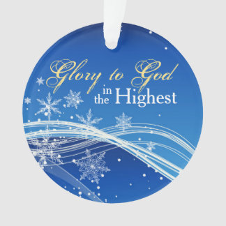 Glory to God Blue Skies Personalized Ornament