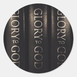 Glory to God Classic Round Sticker