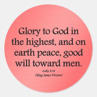 Glory to God in the highest Luke 2:14 Classic Round Sticker