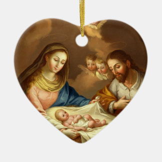 GLORY TO THE HOLY FAMILY CERAMIC HEART DECORATION