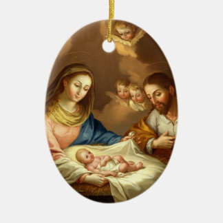 GLORY TO THE HOLY FAMILY CERAMIC OVAL DECORATION
