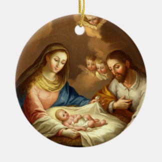 GLORY TO THE HOLY FAMILY ROUND CERAMIC DECORATION