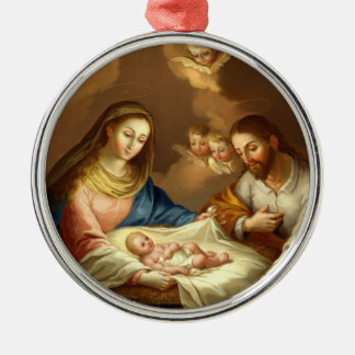 GLORY TO THE HOLY FAMILY Silver-Colored ROUND DECORATION