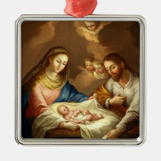 GLORY TO THE HOLY FAMILY Silver-Colored SQUARE DECORATION