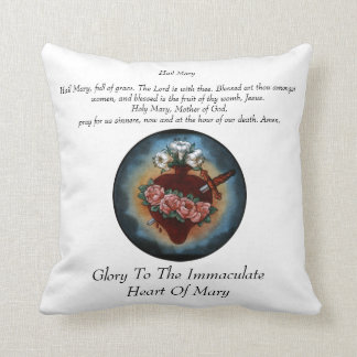Glory To The Immaculate Heart Of Mary Throw Cushions