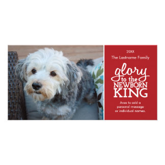 Glory to the Newborn King Red & White Photo Card