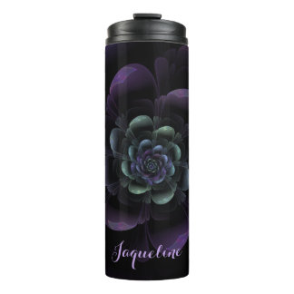 Glossy Black Purple Teal Floral Thermal Tumbler