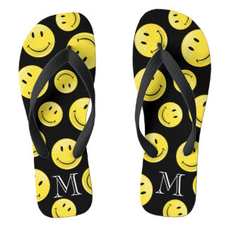 Glossy Classic Yellow Happy Face Thongs